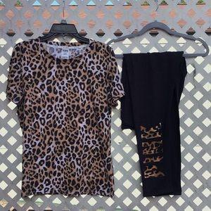 PINK Victoria's Secret Cheetah Tee & Legging Set L